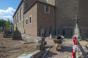 Ancient church under reconstruction in summer