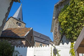 Church seen from a courtyard in summer