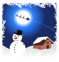 illustrazione con pupazzo di neve in primo piano