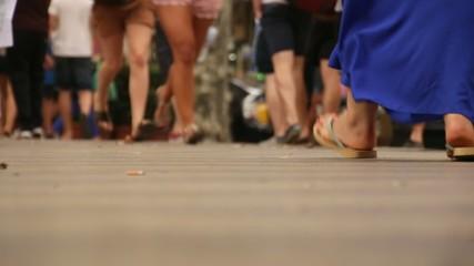 Crowded Feet Les Rambles Boulevard