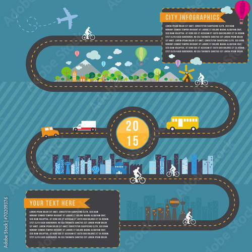 City and transport infographics, vector format - 70209376