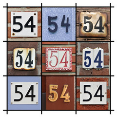 Collage of House Numbers Fifty-four