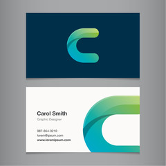 Business card template with alphabet letter C.