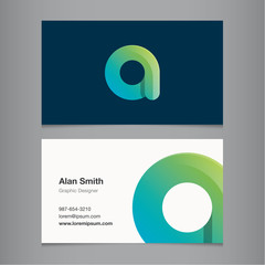 Business card template with alphabet letter A.