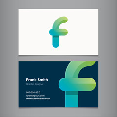 Business card template with alphabet letter F.