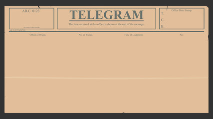 Blank telegram in retro style.