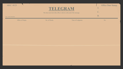Blank telegram in retro style.