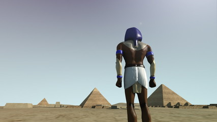 3D animation of the Giza platform Egypt and the god Horus