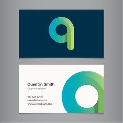 Business card template with alphabet letter Q.