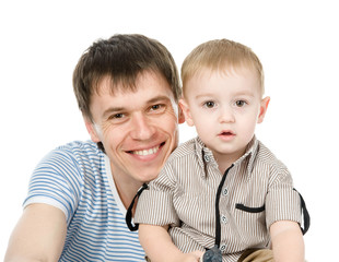 Portrait of a happy father with his little son. isolated on whit