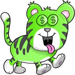 Money Hungry Tiger Vector Illustration Art