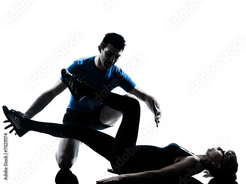 Poster Fitness aerobics intstructor with mature woman exercising silhouette