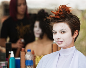 Calm Woman in White Makeup