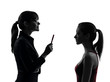 teacher woman mother teenager girl discussion  in silhouette uet