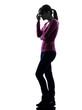 woman migraine headache full length silhouette