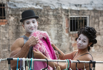 Cirque Clowns Fitting Pink Coat