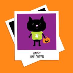 Instant photo with black cat and pumpkin bucket Halloween Flat