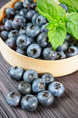 Blueberry on wooden board