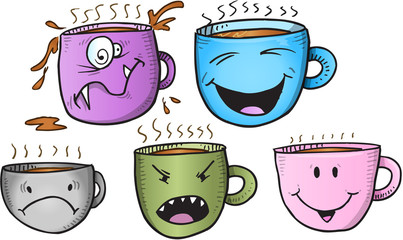 Wacky Coffee Cup Vector Set