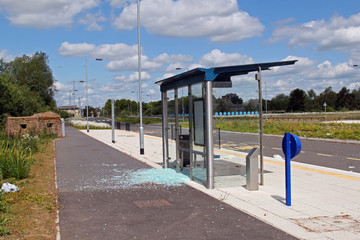 Vandalised bus stop.
