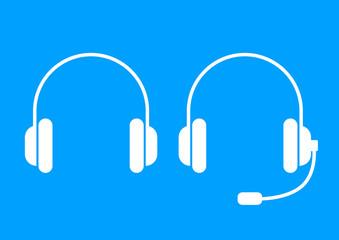 White headphones icon on blue background