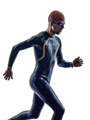 man triathlon iron man athlete swimmers running
