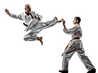 karate men teenager student fighters fighting