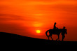 sillhouette of a journey on horseback  with sunset