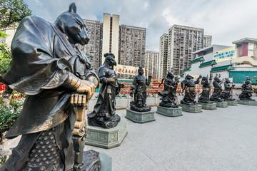 Chinese Zodiac statues Sik Sik Yuen Wong Tai Sin Temple Kowloon