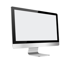 Slim LCD Computer Monitor with blank screen on white background