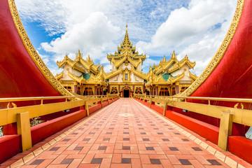 Yangon icon landmark and tourist attraction: Karaweik - replica