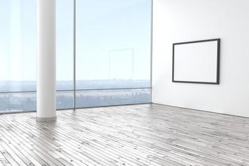 Raum leer hell modern mit Holzboden Bilderrahmen