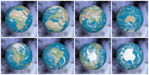 Continents on the earth - 3D render