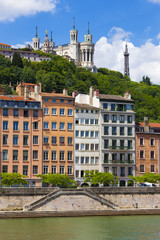 Lyon cityscape from Saone river