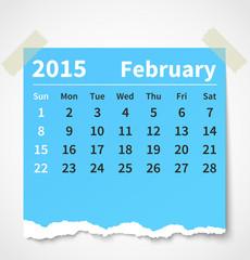 Calendar february 2015 colorful torn paper