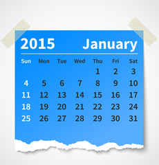Calendar january 2015 colorful torn paper