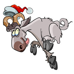 Cartoon sheep jumping in the hat of Santa Claus
