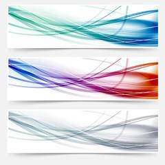 Wave headers set - swoosh hi-tech lines