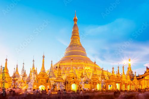 Poster Shwedagon pagoda in Yagon, Myanmar