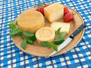 Cheese and tomato on round wooden board, on blue and white cloth