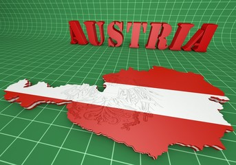 map illustration of Austria with flag