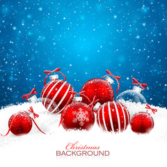 Christmas decorations with red balls. Vector