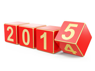 Happy new year 2015, 3d concept wintage boxes
