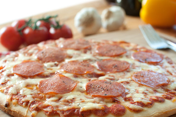 Oven baked pepperoni pizza