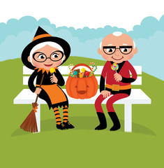 Elderly couple celebrating Halloween