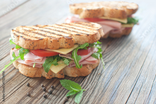 Fotobehang Snack Grilled deli sandwiches