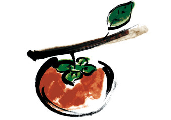 柿 枝付き