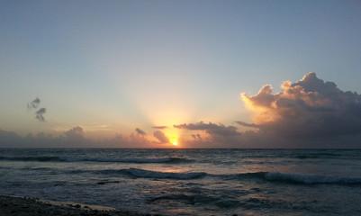 Caribbean sunset at a beach on the Riviera Maya