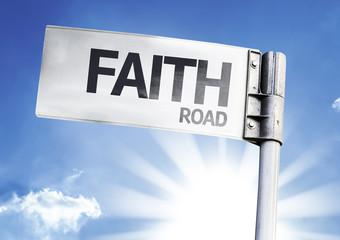 Faith written on the road sign