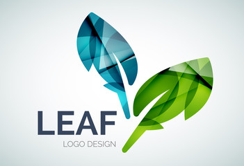 Green eco leaves logo made of color pieces